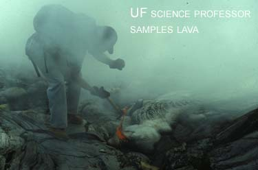 man sampling lava for a volcanic area